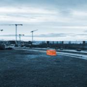 BUWOG-Container früh morgens auf dem Areal von BUWOG NEUE MITTE SCHÖNEFELD. Credit: BUWOG