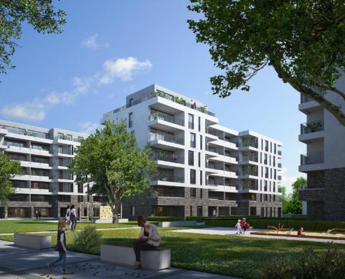 Ein offenes Wohnquartier mit viel Grün: Visualisierung BUWOG NEUE MITTE SCHÖNEFELD. Visualisierung aus Juni 2020, credit: BUWOG Bauträger GmbH