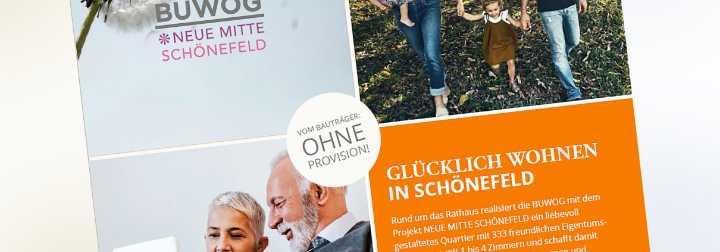 Erste Werbeanzeige zum Neubauprojekt BUWOG NEUE MITTE SCHÖNEFELD